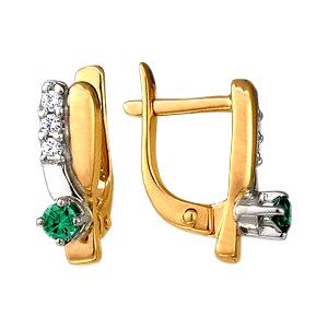 Серьги из золота с зелеными и белыми фианитами