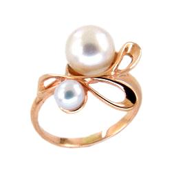 Кольцо из золота с белыми жемчужинами