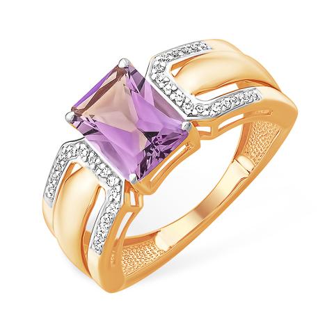 Золотое кольцо с крупным аметистом формы октагон