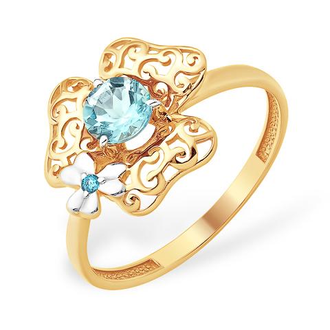 Ажурное кольцо в виде цветка с голубым топазом