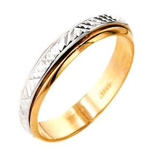 Обручальное кольцо из белого и красного золота с алмазной гранью