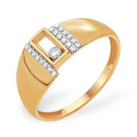 Золотое кольцо с танцующим фианитом