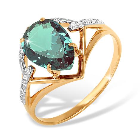 Золотое кольцо с ситалл Лондоном и фианитами