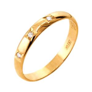 Золотое обручальное кольцо с фианитами