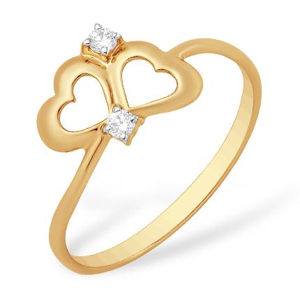 """Кольцо в подарок на день святого Валентина """"сердечки"""" из золота с фианитами"""