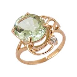 Кольцо из золота с празиолитом и фианитом