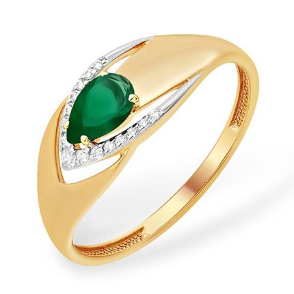 Лёгкое кольцо с зелёным агатом