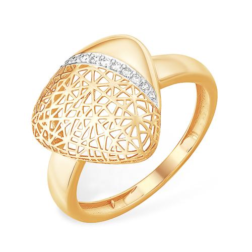 """Золоте кольцо """"паутинка"""" треугольной формы"""