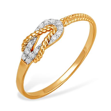 """Кольцо """"канат"""" из золота с фианитами"""