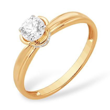 Помолвочное кольцо из золота с кристаллом Swarovski и фианитами