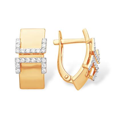 Золотые серьги прямоугольной формы с фианитами