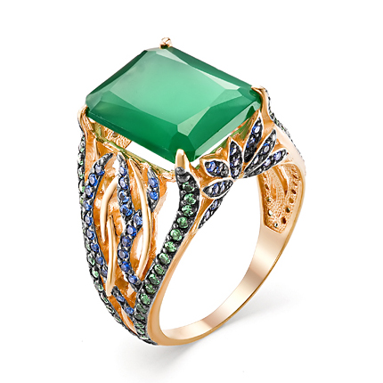 Женский перстень с крупным зелёным агатом и фианитами
