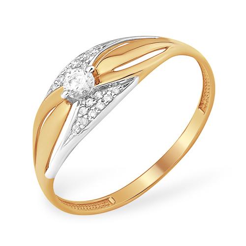Кольцо с кристаллами Сваровски бесцветными фианитами из золота