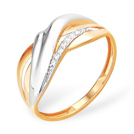 Кольцо из золота с родиевым покрытием и фианитовой дорожкой