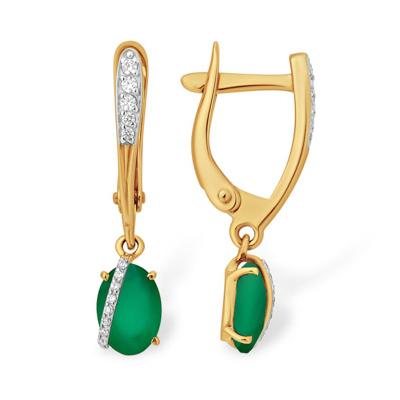 Золотые висячие серьги с зелёным агатом и фианитами