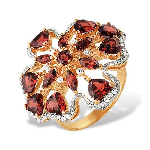 Кольцо из красного золота с гранатами и фианитами