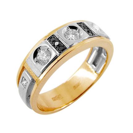 Кольцо из золота с белыми и черными бриллиантами