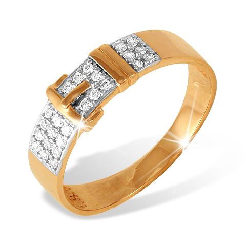 Кольцо из золота в виде ремня с фианитами