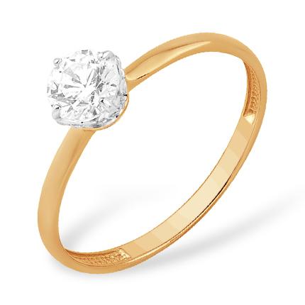 Золотое помолвочное кольцо с кристаллом Сваровски
