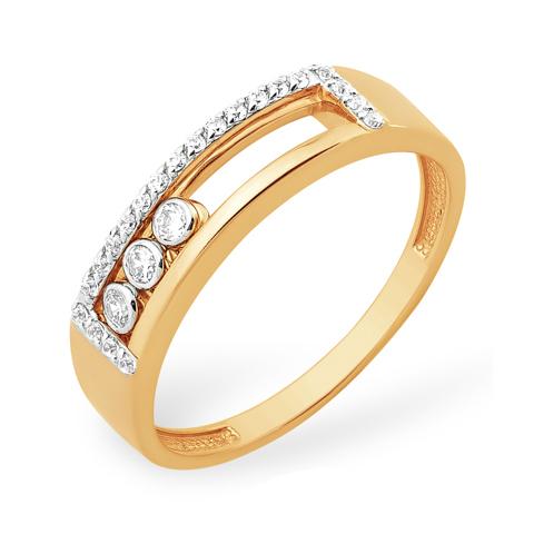 Кольцо с из золота с танцующими фианитами