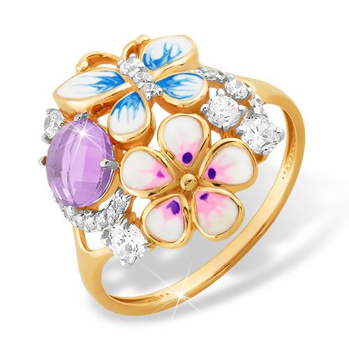 Оригинальное и нежное золотое кольцо с аметистом