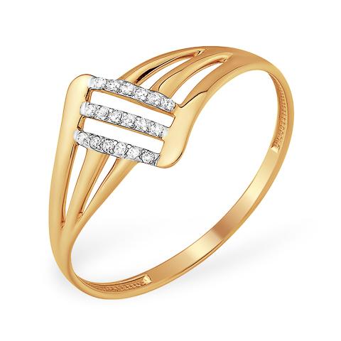 Кольцо из золота с дорожками из фианитов