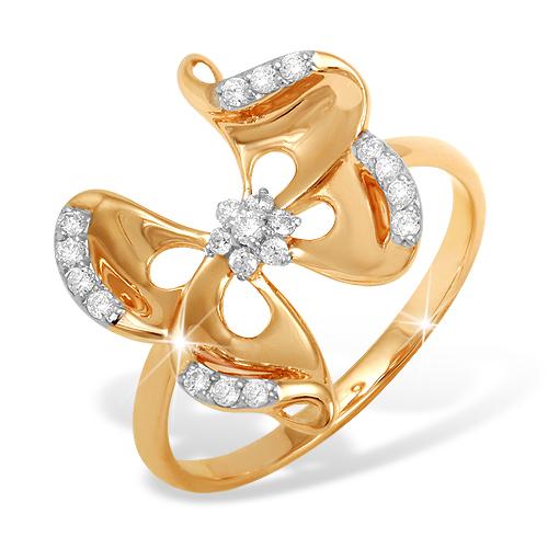 """Кольцо """"бабочка"""" из золота с фианитами"""