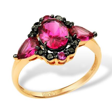 Кольцо из золота с гидротермальными рубинами и черными фианитами