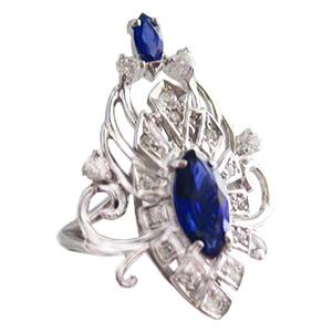 Кольцо из серебра с синией шпинелью и фианитами