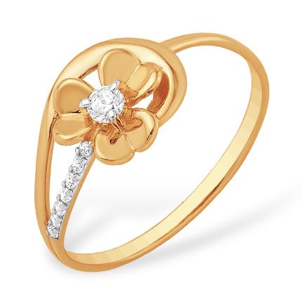 """Золотое кольцо """"цветочек"""" с фианитами"""