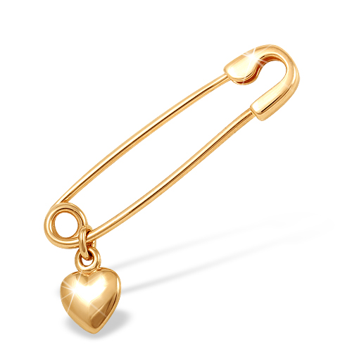 "Брошь-булавка ""сердце"" из золота"