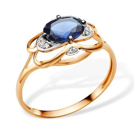 Золотое кольцо с сапфировым корундом и фианитами