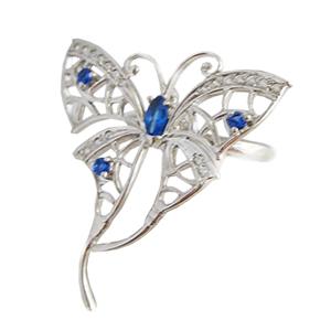 """Серебряное кольцо """"бабочка"""" с синими фианитами"""