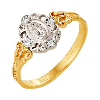 Православное кольцо из золота с фианитами