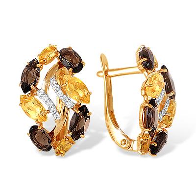 Золотые серьги с раух-топазами, цитринами и фианитами