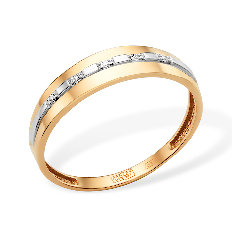 Классическое золотое кольцо с фианитами