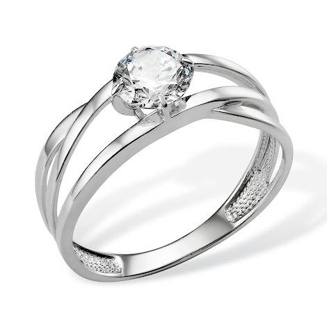 Золоте кольцо из белого золота с фианитом