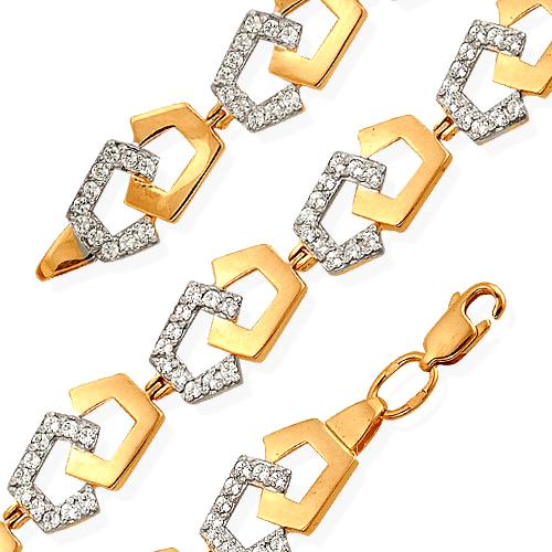 Браслет из комбинированного золота с фианитами