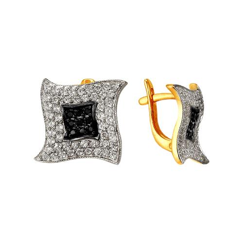 Серьги из золота с белыми и черными фианитами