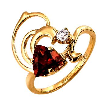 Кольцо из золота с гранатом и фианитом