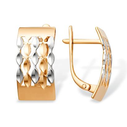 Серьги прямоугольные с алмазной гранью