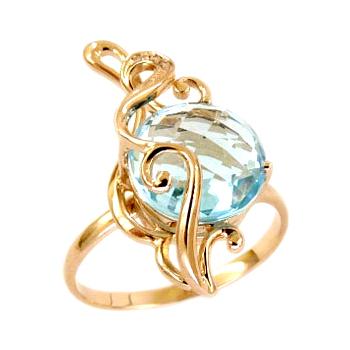 Кольцо из золота с круглым топазом и фианитами