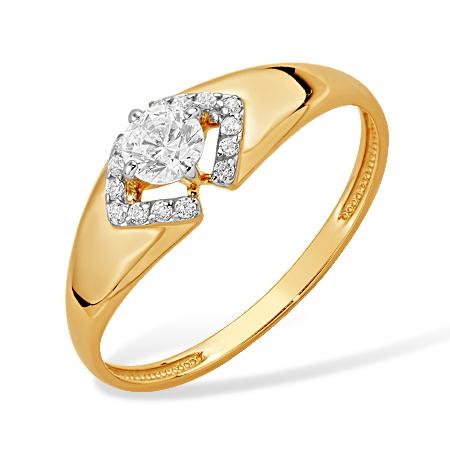 Классическое кольцо из золота с фианитами