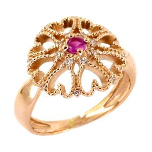 """Кольцо """"сердечки"""" из золота с розовым и белыми фианитами"""