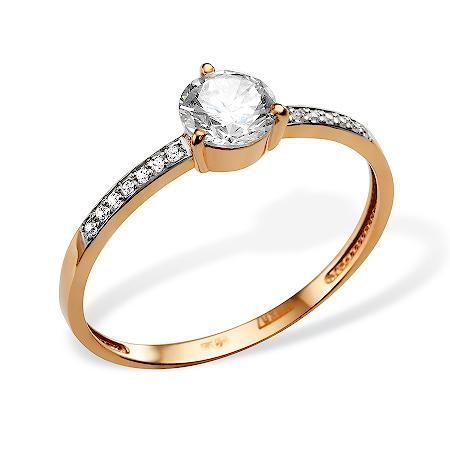 Небольшое золотое кольцо с крупным фианитом