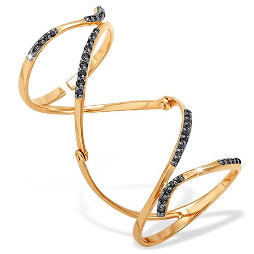 Кольцо на две фаланги из золота с черными фианитами