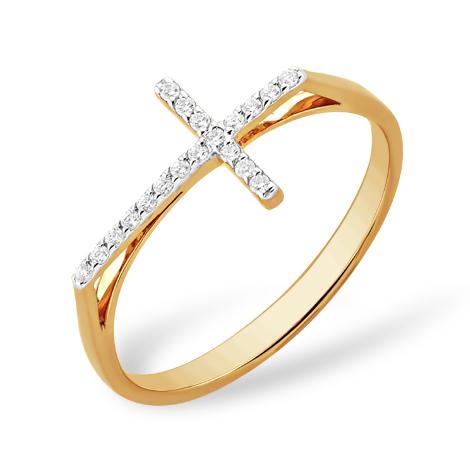 """Золотое кольцо """"крест"""" с фианитами"""