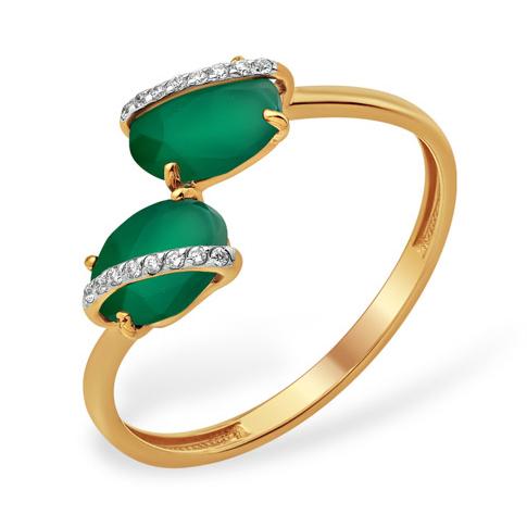 Кольцо в стиле Диор с зелёным агатом и фианитами