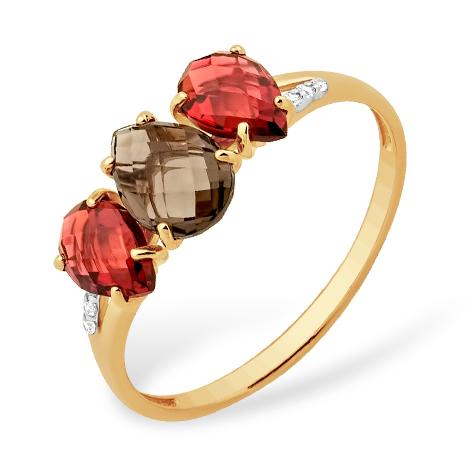 Золотое кольцо с гранатами, раух-топазом и финанитам