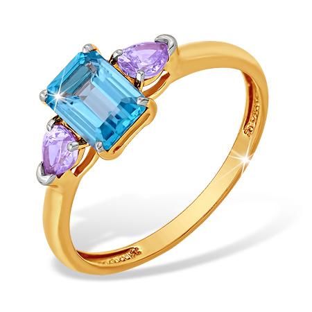 """Кольцо из золота с топазом и фианитами цвета """"лаванда"""""""